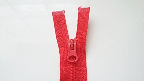 ILC MERCERIE PARADIS Fermetures Éclair Plusieurs Couleurs et Tailles au Choix - Maille 4 mm - A Glissière Plastique Ouvrable Séparable - Largeur 2,7 cm. (Rouge, 22 cm)