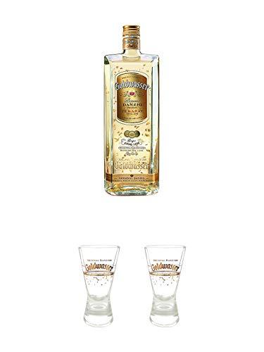 Danziger Goldwasser Likör 0,7 Liter + Der Lachs Danziger Goldwasser Shotglas 2 cl 1 Stück + Der Lachs Danziger Goldwasser Shotglas 2 cl 1 Stück