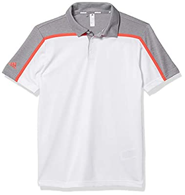 adidas Golf Heathered Colorblock Polo Shirt, White, Medium