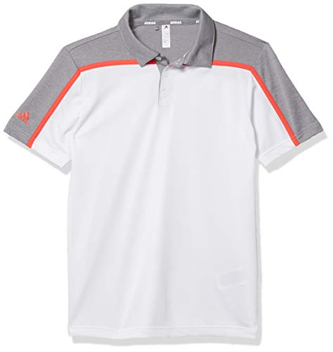 adidas Poloshirt für Jungen, meliert, Colorblock, Jungen, Polo, Heathered Colorblock Polo Shirt, weiß, Large