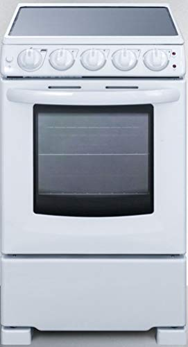 """Summit Appliance REX2051WRT 20"""" Wide Slide-In Look Smooth-Top Electric Range in White with Oven Window, Adjustable Racks, Hot Surface Indicator, Indicator Lights, Upfront Controls"""