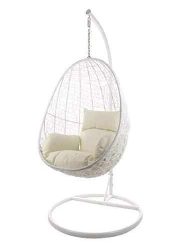 Komplettset Hängesessel CAPDEPERA inklusive Sitzkissen, Swing Chair, Poly-Rattan, Rattanmöbel, Schaukel, Loungesessel, Loungemöbel, (Gestell- und Korbfarbe: weiß, Kissen: Elfenbein Nest (0050_Ivory))