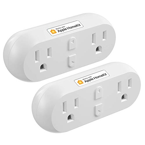 meross Smart Plug Dual WiFi Outlet Plug 2 in 1, Support Apple HomeKit, Siri, Alexa, Echo, Google Assistant and SmartThings, Voice & Remote Control, Timer, No Hub Required, 2Pack