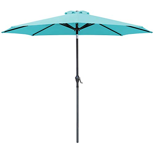 Greesum 9FT Patio Umbrella Outdoor Market Table Umbrella with Push Button Tilt, Crank and 8 Sturdy Ribs for Garden, Lawn,Backyard & Pool,Blue