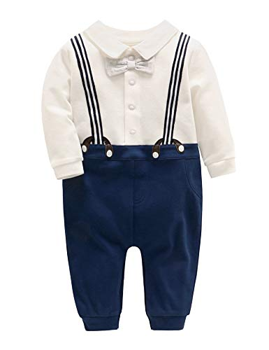 D.B.PRINCE Newborn Baby Boy Dress Clothes Baptism Gentleman Tuxedo Suits Outfits Warm Romper Outerwear Coat (A05, 0-3 Months)