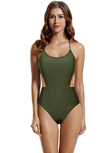 zeraca Women's Strappy Cross Back High Waisted One Piece Monokini Bathing Suit (Olive - New, Large / 14)