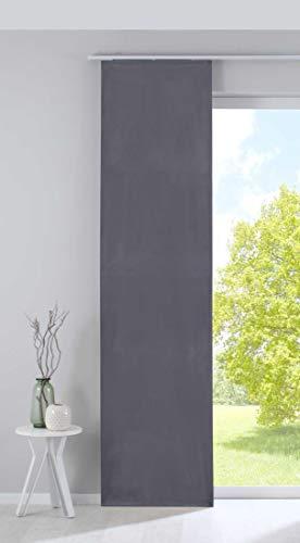 Gardinenbox 203571 Milano Rideau Coulissant Opaque en Velours avec Barre de lestage Gris 245 x 60 cm