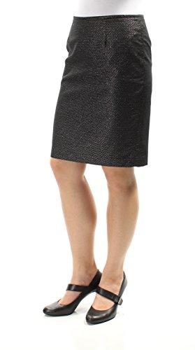 Calvin Klein Womens Petites Metallic Patterned Straight Skirt Black 8P