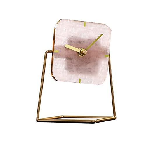 Reloj de escritorio Reloj De Escritorio Moderno Creativo, 6 Pulgadas De Reloj De Reloj / Reloj De Cristal Reloj De Estilo Nórdico Movimiento Silencioso Adornos De Escritorio Operado Por Ba(Color:Rosa)