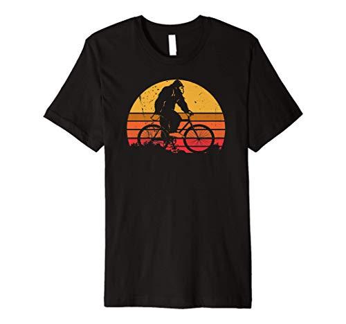 Bigfoot Rides a Mountain Bike funny vintage retro sasquatch Premium T-Shirt