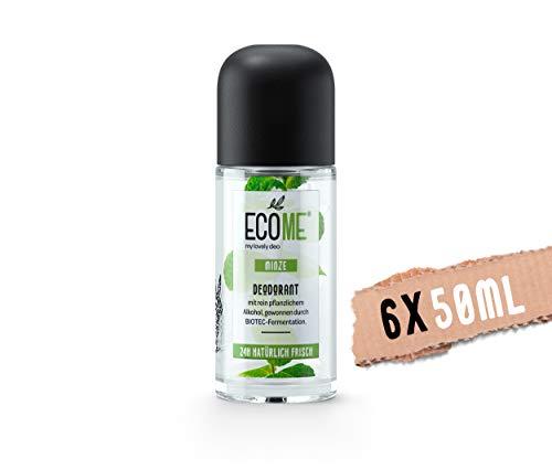 ECOME Deo Roll-On Minze, veganer Deo Roller, auch für empfindliche Haut, 24 h natürliche Frische, ohne Aluminium-Salze, eco-friendly, Made in EU, 6 x 50 ml