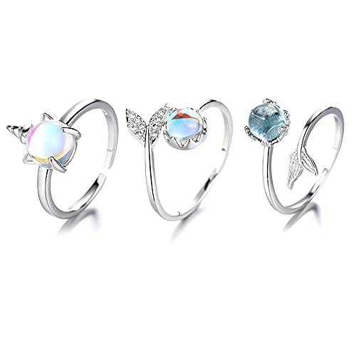 Sunshine smile Meerjungfrau Ring,Verstellbar meerjungfrau Ring,Silber Meerjungfrau Ring,Stern Mondstein Ring,Mondstein Schmuck Verstellbar Ring,Fischschwanz Ring,Kristall Meerjungfrau Ring