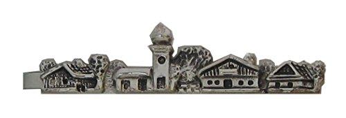 Trachten Krawattenklammer Krawattennadel Motiv Bayerisches Dorf Skyline ca. 6,5 cm lang - versilbert Made in Germany Tracht Herrenschmuck inkl. dunkler Geschenkbox Sale