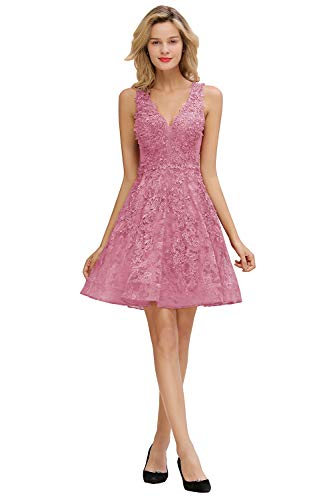 MisShow Damen Perlenstickerei V Ausschnitt Abendkleider Ballkleider Abschlusskleider Silvester Kleider Kurz Altrosa 44
