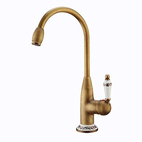 RREN-Faucet Grifo Retro, Grifo de Lavabo de Cobre Lleno, Grifo de baño Giratorio de 360 Grados, Grifo de Cocina de Uso Doble Caliente y frío Europeo