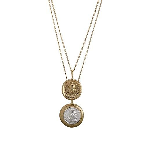 Vintage oro plata Color Y Color tallado moneda collar figura medalla cadena larga collar de doble capa colgante mujeres gargantilla