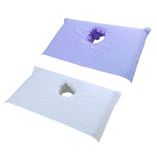 2 Piezas de Cubierta Cama de Toalla de masaje con Orificio Respiración para Cara, Blanco y Púrpura