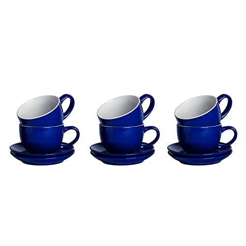 Argon Tableware 12 piezas de color cappuccino y platillo Set - Estilo Moderno té de la porcelana y la taza - 250ml - Armada