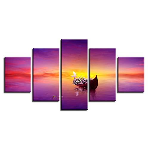 WHFDH canvas schilderij wooncultuur woonkamer 5 bord zonsondergang boot seascape Hd gedrukt afbeelding muurkunst poster 20x35 20x45 20x55cm Geen frame.