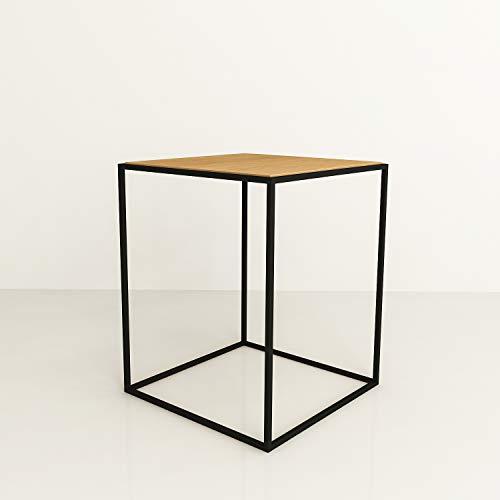 XXL Discount HOME Table basse en bois métal Table basse Table basse en bois de chêne huilé / métal noir mat Table d'appoint design industriel trou sofa vintage