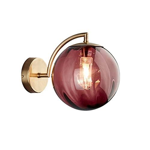 YXLMAONY Lámpara de pared tricromática moderna, cuerpo de lámpara de hierro forjado, pantalla de vidrio redonda y opciones de lámpara de pared para decoración del hogar para habitaciones de hotel, sal