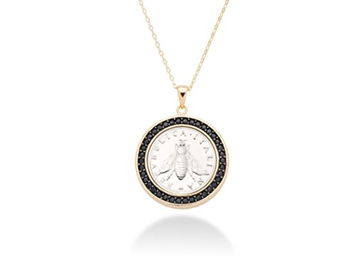 Miabella 18K Gold over Sterling Silver Black Spinel Genuine Italian 2-Lira Bee Coin Pendant Necklace, 18 Inch Chain 925 Made in Italy
