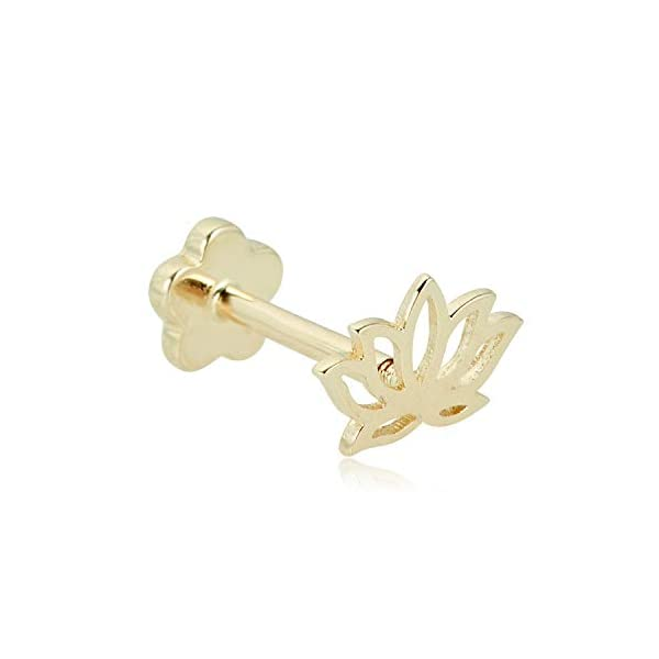 Yellow Gold Lotus Flower Cartilage Barbell Body Jewelry