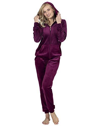 RAIKOU Damen Hausanzug Trainingsanzug Velours Nicki Freizeitanzug Jogginganzug Schlafanzug Kapuzenpullover mit Reißverschluss Hose mit Kordelzug und Taschen (Weinrot,44/46)