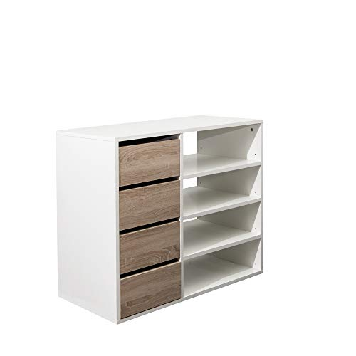 Marca Amazon - Movian Arga - Armario zapatero, 89.5 x 40 x 73.2 cm (largo x ancho x alto), roble y blanco