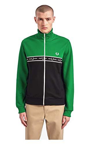 Fred Perry Felpa Uomo J7526 I64 Track Jacket A Blocchi di Colore con Fettuccia Verde Elettrico AI19 XS
