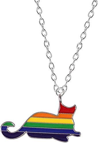 JSYHXYK Collar Collar Bohemio Collar Femenino Gato Arcoíris Aleación De Zinc Colgante Lindo Gatito Moda Popular Señoras Gargantilla Cadena Regalo De Joyería