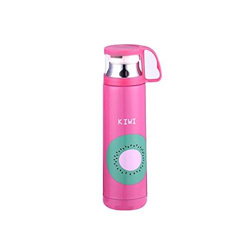 JINSANSHUN Neumodisch 500ml 304 Rostfreier Edelstahl Frucht Isolierflasche Thermoskanne Kinder-Becher Vakuumflasche Thermoflasche Kinder-Becher Doppel Deckel für Kinder Mädchen - Pink (Kiwi)