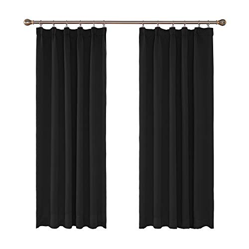 UMI Amazon Brand Room Darkening Pencil Pleat Curtains Thermal Insulated Window Treatment Energy Efficiency Soft Pair Curtains Rod PocketBlackout Curtains for Living Room 66 x 72 Inch Black Set of 2
