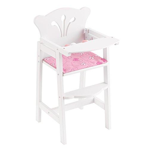KidKraft 61101 Trona de madera Lil' Doll para muñequitas de 45cm, muebles para dormitorio de niños