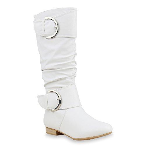 Flache Damen Stiefel Langschaft Boots Leder-Optik Schuhe 129417 Weiss 40 Flandell
