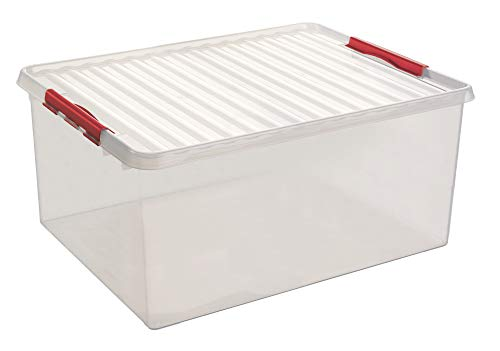 Sunware Q-Line Box - 120 Liter - 80 x 50 x 38cm - transparent/rot