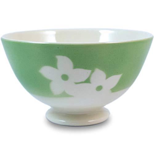 Niderviller Milchkaffee Müsli Schale original Fayence Keramik mit Standfuß 40 cl Veilchen grün