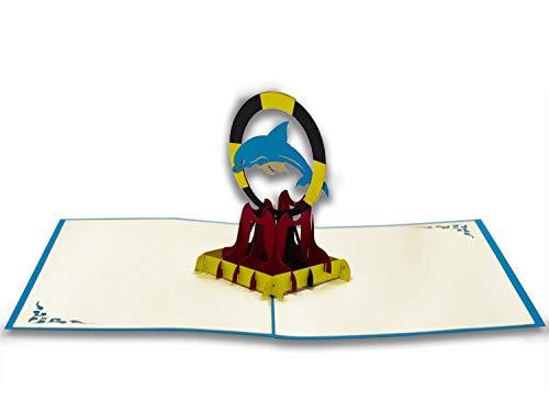 Tarjeta de felicitación de Origami, diseño de delfines