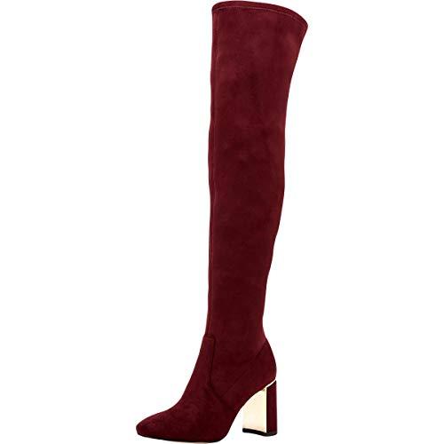 BCBGeneration Women's Burgundy Suede Aliana Over The Knee Boots, 7, Burgundy