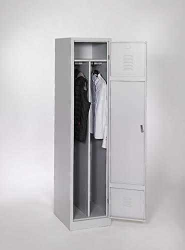 furni24 Garderobenschrank Schließfach Spind Umkleideschrank Kleiderschrank Abteilbreite 40 cm 1-türig fertig montiert Verschiedene Ausführungen verfügbar