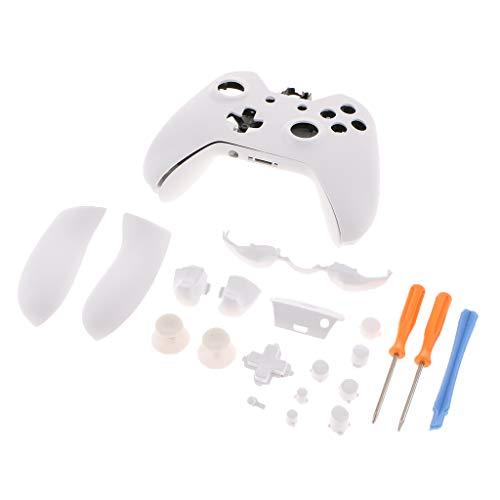 P Prettyia Kit de Cubierta de Caja Completa para Microsoft Xbox One Elite Botón de Reemplazo Pieza T6 T8 Destornillador Kit Negro - Blanco