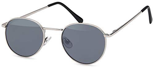 styleBREAKER Sonnenbrille in Panto-Form mit runden Flachgläsern und Metall Bügel, Unisex 09020077, Farbe:Gestell Silber/Glas Grau getönt