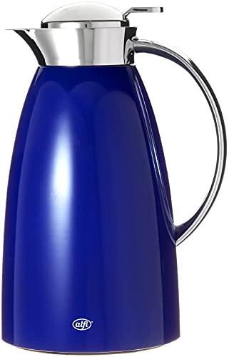 alfi Thermokaraffe Gusto Glas Vakuum Metall lackiert für heiße und kalte Getränke, 1,0 l, royalblau