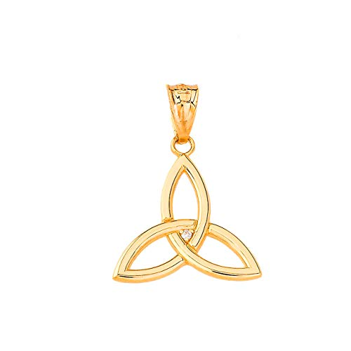Certified 10k Yellow Gold Solitaire Diamond Celtic Trinity Knot Charm Pendant