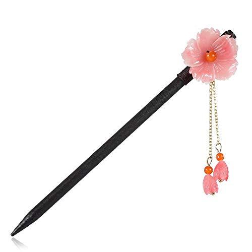 Handmade Wooden Hair Sticks for Women Long Thick Hair Buns Decorative - Pink Flowers Tassel Vintage Chinese Elegant Hair Clasp Chopsticks Hairstyle Ha