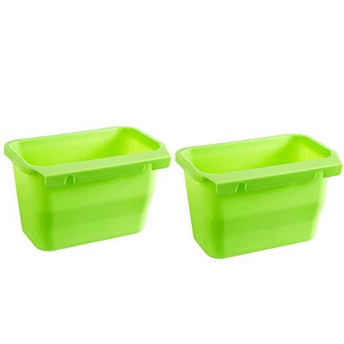 Ouneed - Küche Müllkisten Hängende Box,Küchen-Abfalleimer Multifunktions Abfallbehälter Bio Mülleimer Abfallsammler zum Hinstellen Auffangschale Küchenabfälle (grün)
