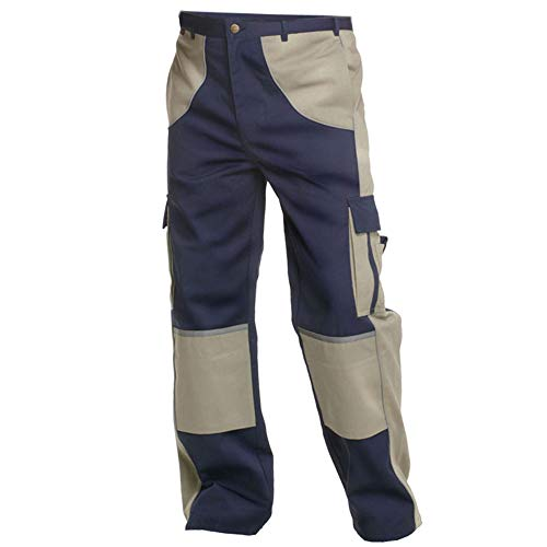 Charlie Barato Arbeitshose Herren Premium Line blau/beige - Bundhose für Handwerker … (54)