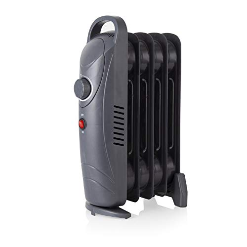 Warmlite 650 W 5 Fin Oil Filled Radiator with Adjustable Thermostat and Overheat Protection, Dark Titanium