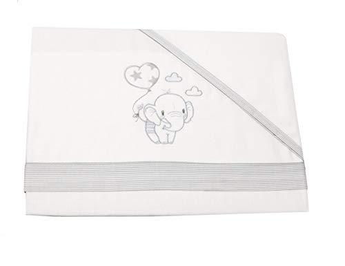 Juego de Sábanas 100% algodón para cuna de 120x60. Bajera + encimera + funda almohada. (My Balloon)