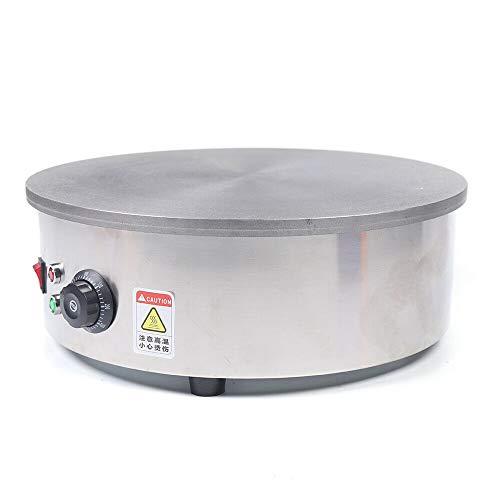 Crepera eléctrica redonda 2800 W, dispositivo profesional, crepera, 45 cm, temperatura ajustable, para crepes dulces, galletas saladas, tortitas y tortitas